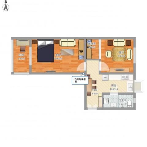 昌宁南里4-6-3011室1厅1卫1厨64.00㎡户型图