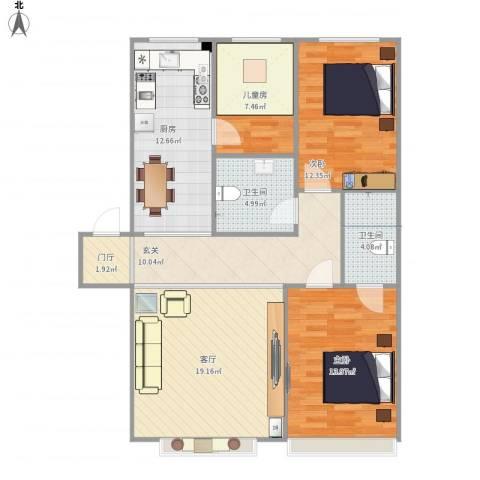 山海新城3室1厅2卫1厨117.00㎡户型图