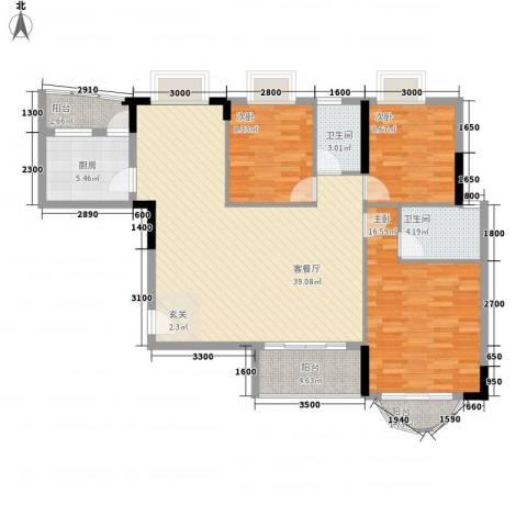 贝月湾3室1厅2卫1厨125.00㎡户型图