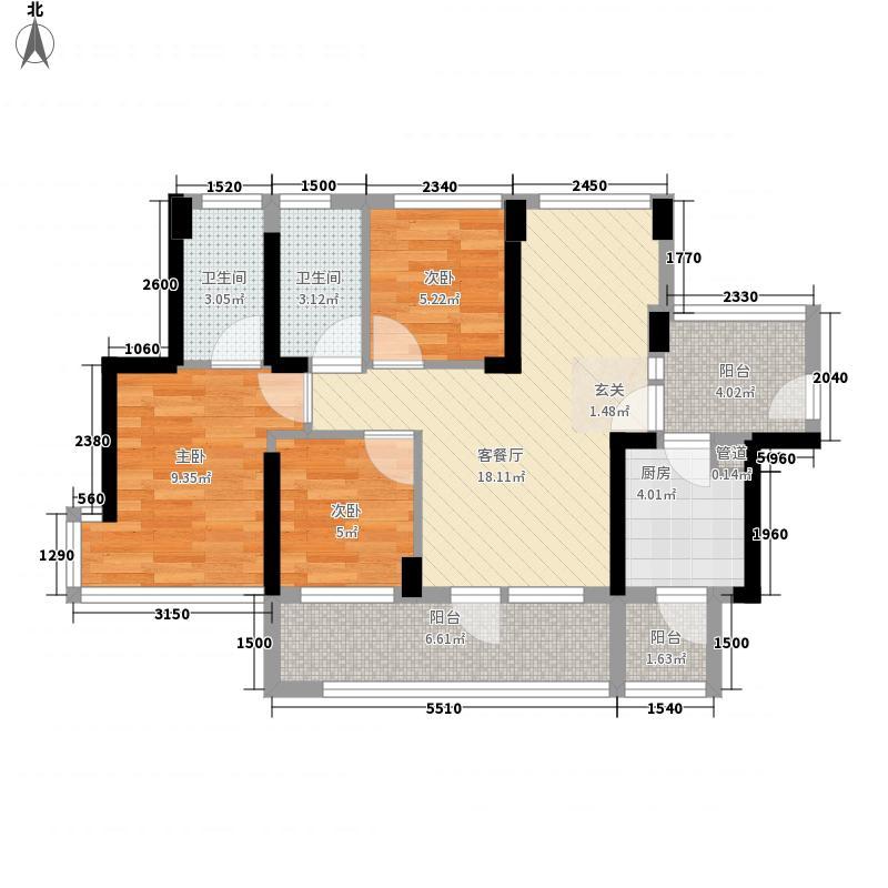 潜龙曼海宁花园88.60㎡奇数层户型3室3厅2卫1厨