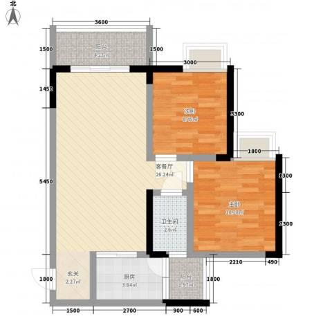 利丰印象望江苑二期2室1厅1卫1厨64.00㎡户型图