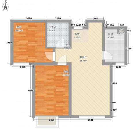 京能海与城2室1厅1卫1厨58.52㎡户型图