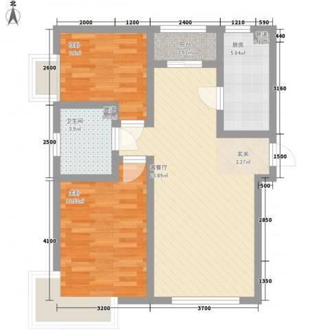 京能海与城2室1厅1卫1厨56.96㎡户型图