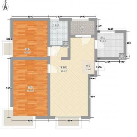 京能海与城2室1厅1卫1厨60.00㎡户型图