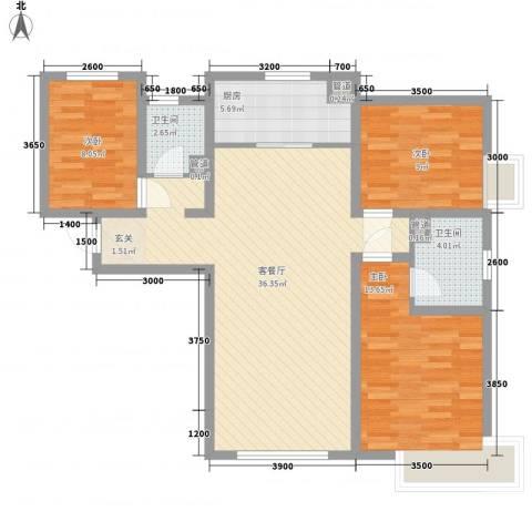 京能海与城3室1厅2卫1厨126.00㎡户型图