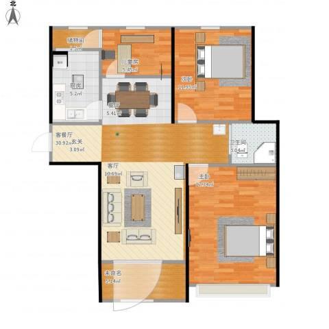 中奥珑郡3室1厅1卫1厨109.00㎡户型图