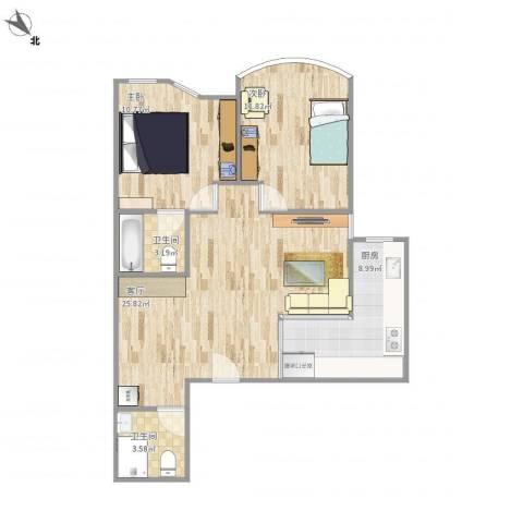 鹏润家园2室1厅2卫1厨93.00㎡户型图
