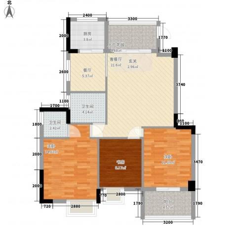 水岸书香3室2厅2卫1厨114.00㎡户型图