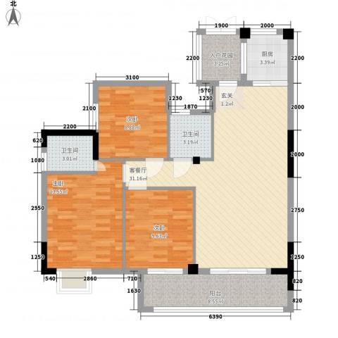 水岸书香3室1厅2卫1厨120.00㎡户型图