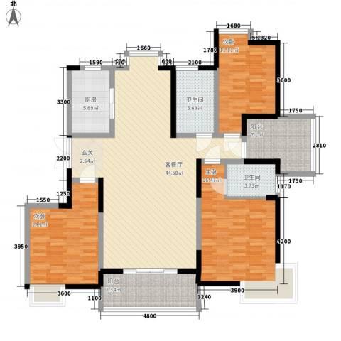 中铁四局七公司宿舍3室1厅2卫1厨166.00㎡户型图