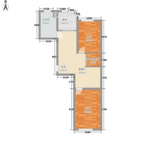 金湖湾首府2室1厅1卫1厨89.00㎡户型图