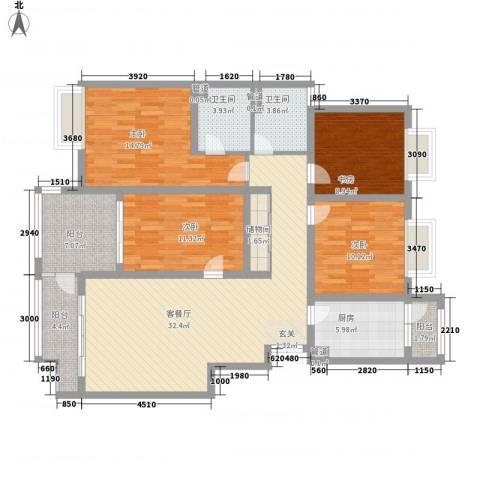 凯铂精品酒店4室1厅2卫1厨123.90㎡户型图