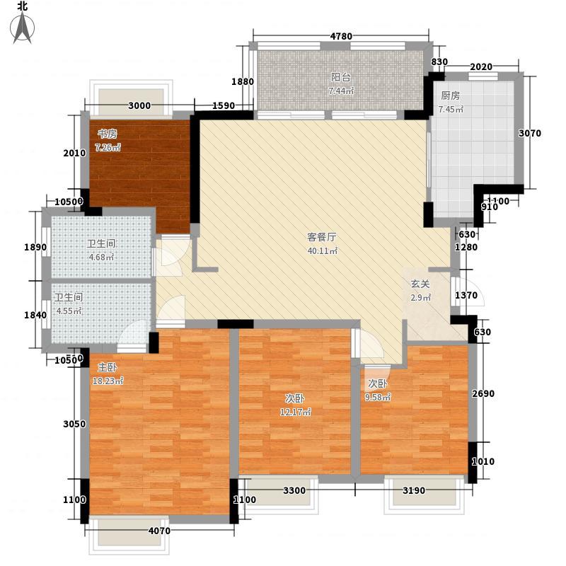 保利清能西海岸135.00㎡Y25号楼S135户型4室2厅2卫1厨