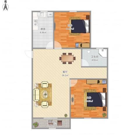 瑞和园2室1厅1卫1厨112.00㎡户型图