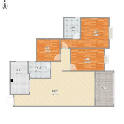 龙凤呈祥刘姐杨哥1263室1厅2卫1厨137.00㎡户型图