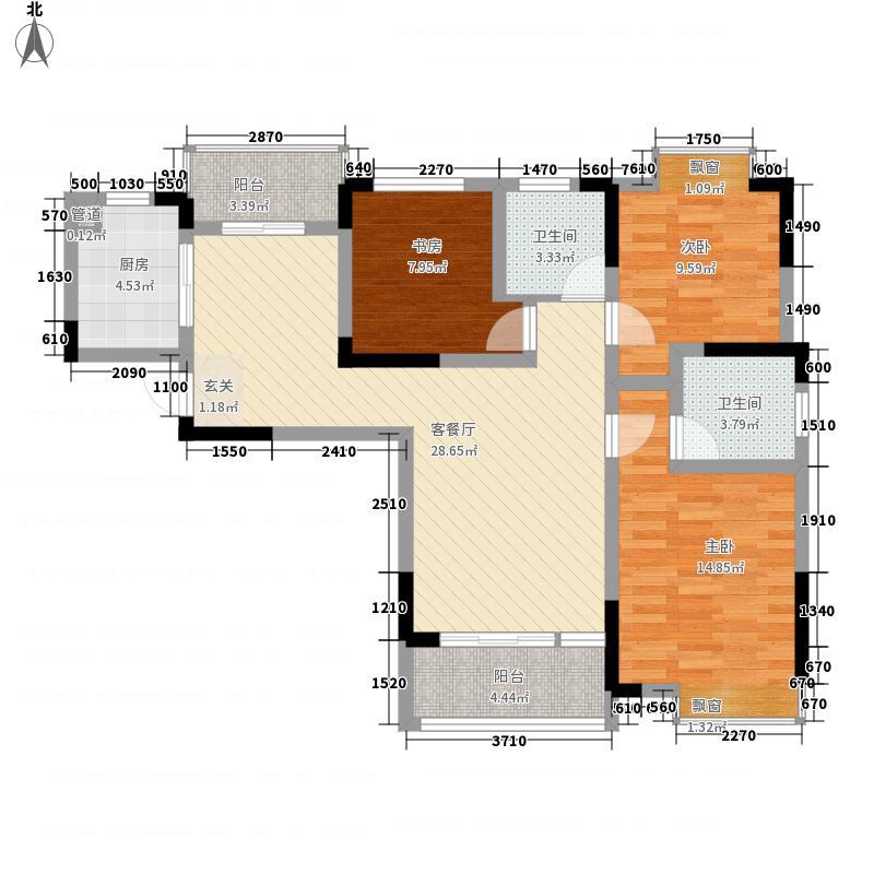 东方红郡118.00㎡三期高层23#楼户型3室2厅2卫1厨