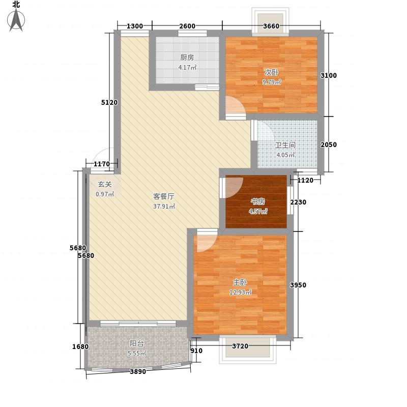 心怡雅居113.55㎡标准层户型3室2厅1卫1厨