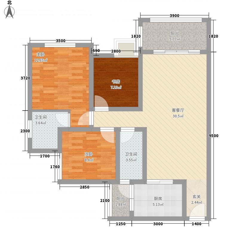 凌凯春天H5户型3室2厅2卫1厨