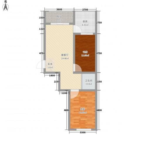 中新花园2室1厅1卫1厨90.00㎡户型图