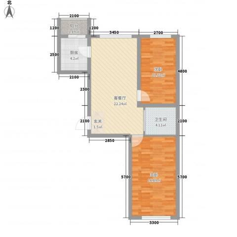 中新花园2室1厅1卫1厨89.00㎡户型图