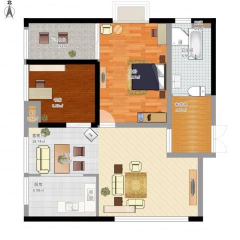 象牙宫寓2室1厅1卫1厨116.00㎡户型图
