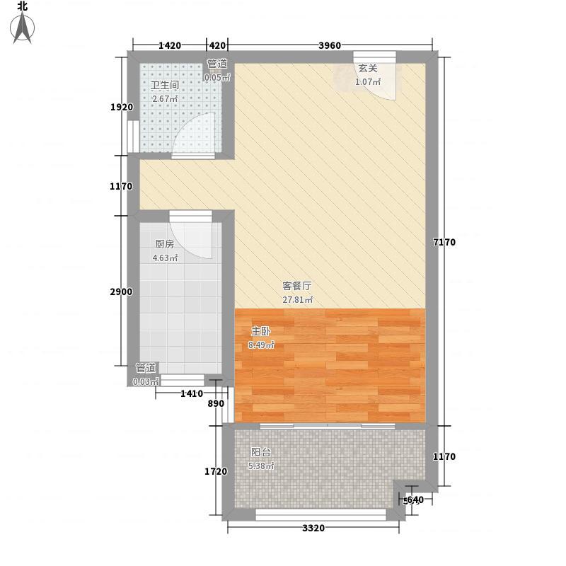 中国铁建国际城58.00㎡4#楼N户型1室2厅1卫1厨