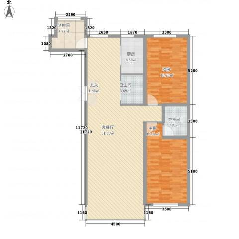 中新花园2室1厅2卫1厨139.00㎡户型图