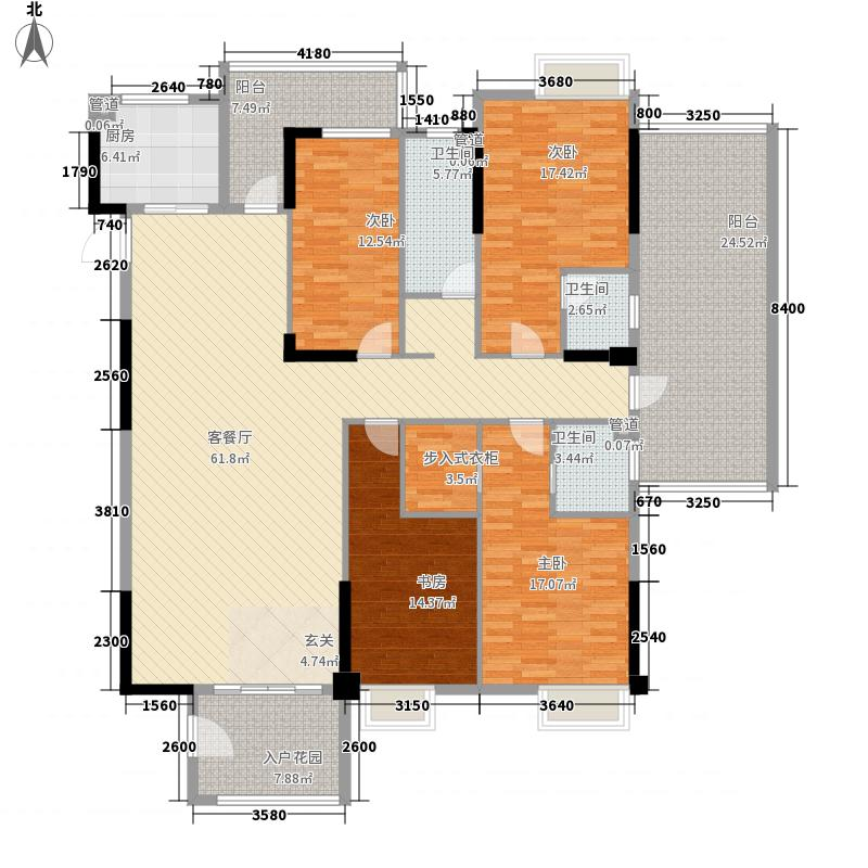 尚景康园216.75㎡2幢标准层05号房户型4室2厅3卫1厨