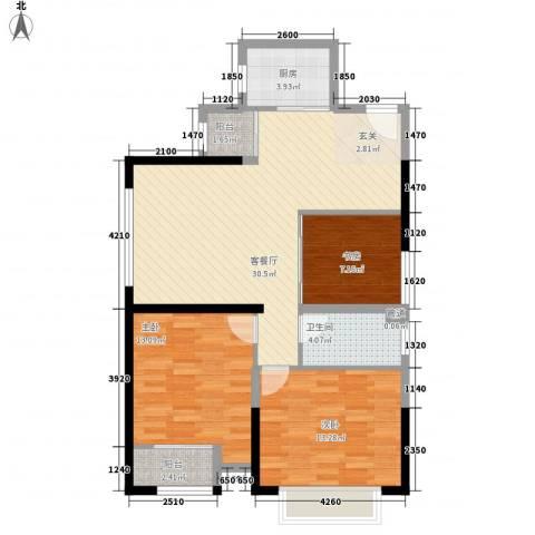 金沙城市广场3室1厅1卫1厨76.15㎡户型图