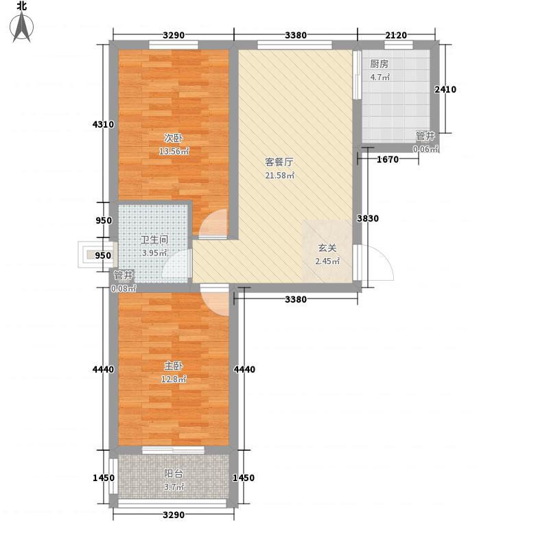 北里洋房87.11㎡G户型2室1厅1卫1厨
