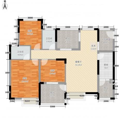 融科海阔天空二期3室1厅2卫1厨149.00㎡户型图