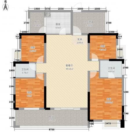 融科海阔天空二期4室1厅2卫1厨193.00㎡户型图