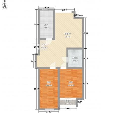 圣罗伦斯・巴比伦2室1厅1卫1厨66.48㎡户型图