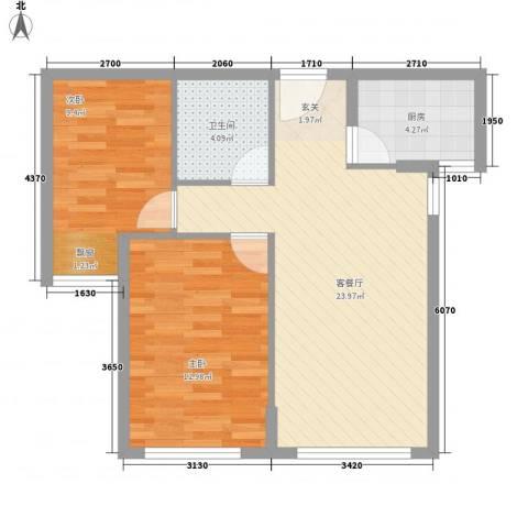 万方家园2室1厅1卫1厨77.00㎡户型图