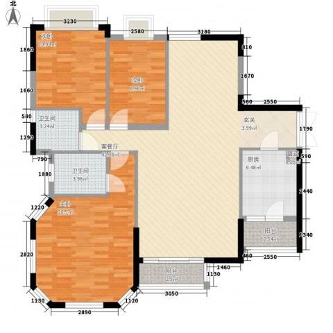 金碧花苑3室1厅2卫1厨142.00㎡户型图
