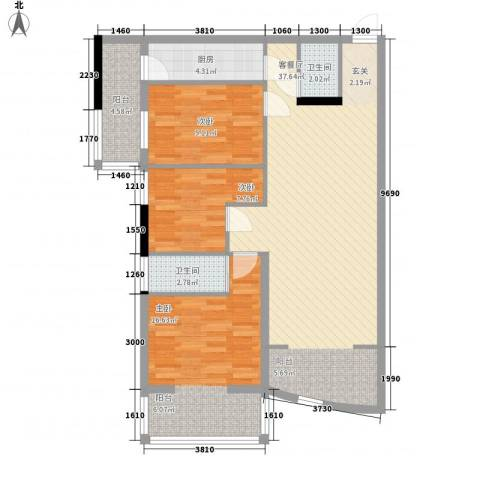 铁湖书院3室1厅2卫1厨118.00㎡户型图