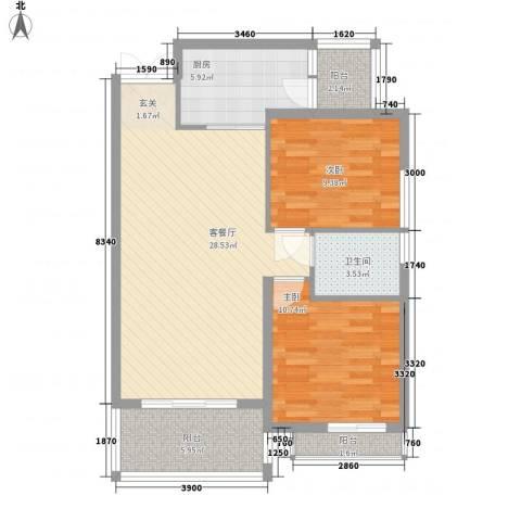 军工3541社区2室1厅1卫1厨67.78㎡户型图