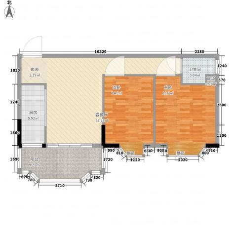 新翼银座2室1厅1卫1厨107.00㎡户型图