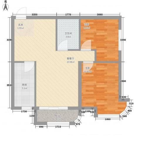金湖湾首府2室1厅1卫1厨78.00㎡户型图