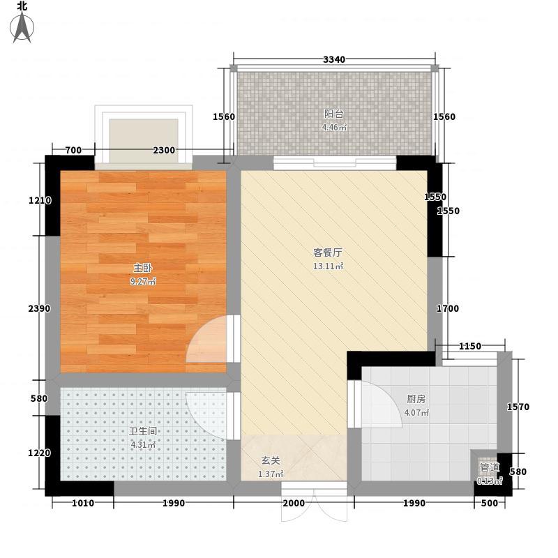 圣城华府44.30㎡3-2-4-25户型1室1厅1卫1厨