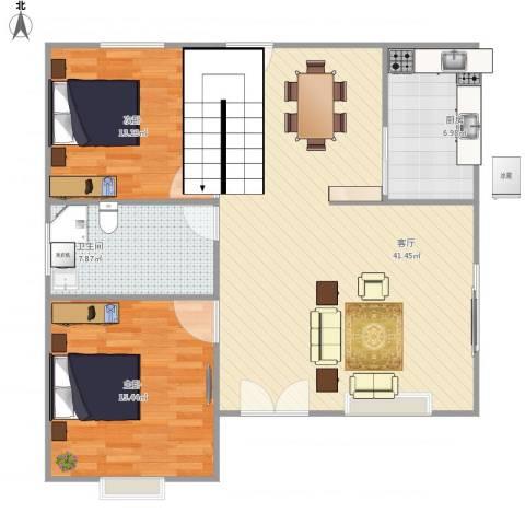 东区自建房2室1厅1卫1厨113.00㎡户型图