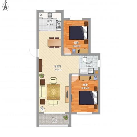 新发北湖花园2室1厅1卫1厨93.00㎡户型图
