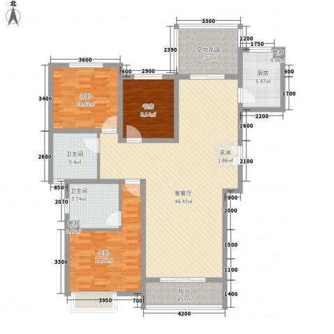 华勤紫金城3室1厅2卫1厨134.00㎡户型图