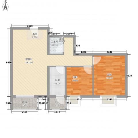 加州水郡西区2室1厅1卫1厨86.00㎡户型图