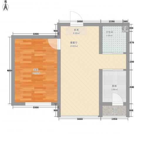 中新花园1室1厅1卫1厨63.00㎡户型图