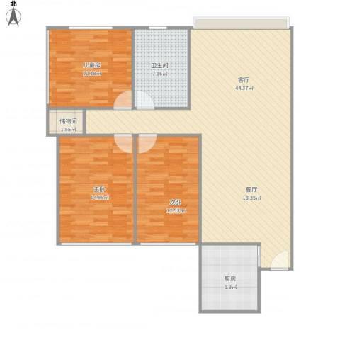 颐和花园6.3.6.153室1厅1卫1厨134.00㎡户型图