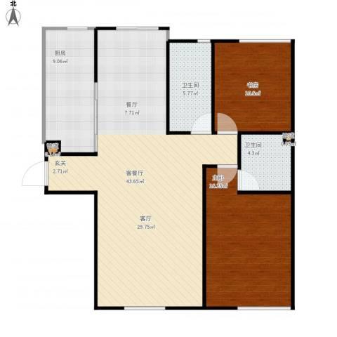星星港湾J组团2室1厅2卫1厨120.00㎡户型图