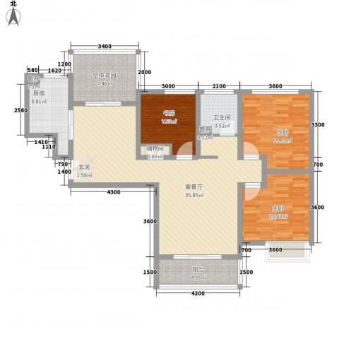 华勤紫金城3室1厅1卫1厨123.00㎡户型图