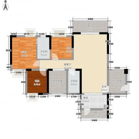 鼎盛时代广场3室1厅2卫1厨134.00㎡户型图