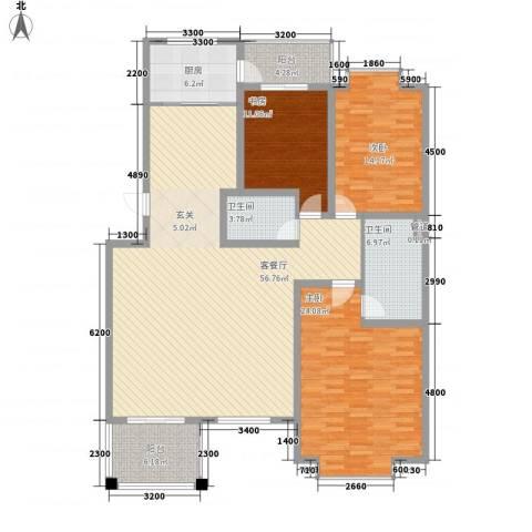 同泰花园3室1厅2卫1厨187.00㎡户型图
